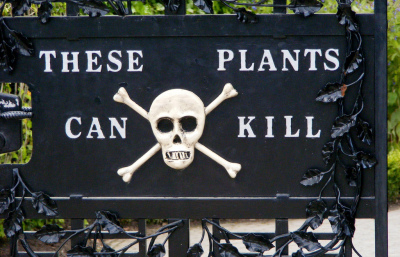 'The plants can kill' sign at Alnwick Poison Gardens